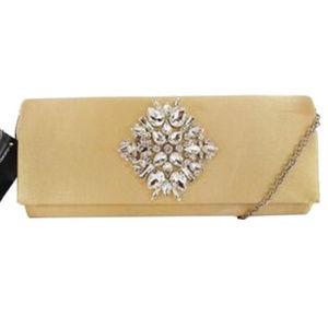 INC CONCEPTS Gold Satin Clutch Bag$80.00